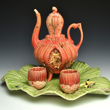 Large Red Teapot with 2 Cups & Tray