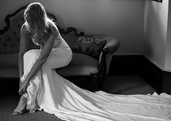 Portrait of bride getting ready in Menangle