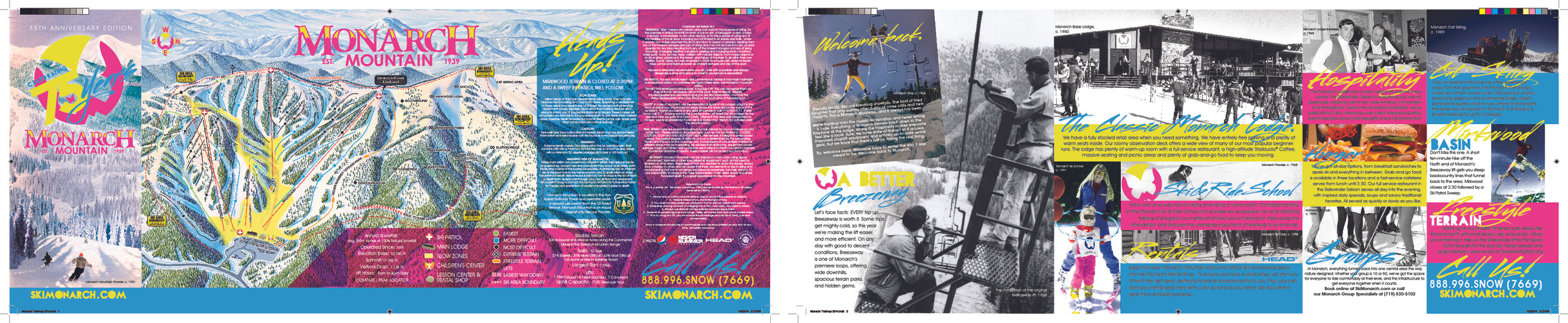 Monarch Mountain 75th Anniversary Trail Map