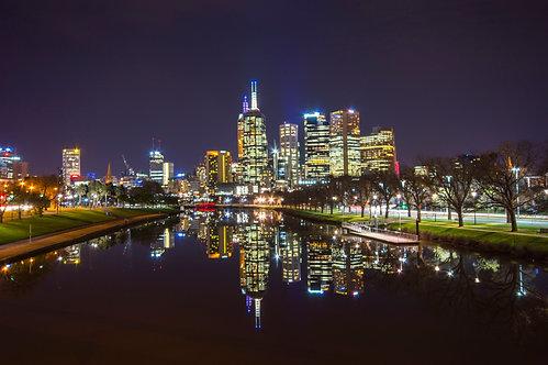 Night city reflection