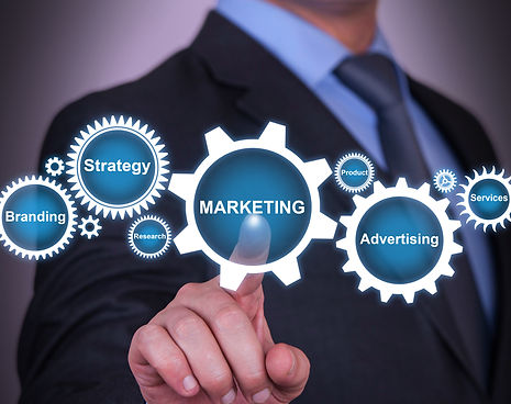 Elements of marketing strategy fitting together displayed as cogs
