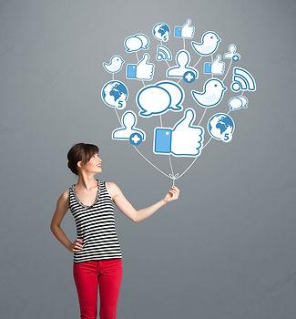 Woman with Social Media icon balloon