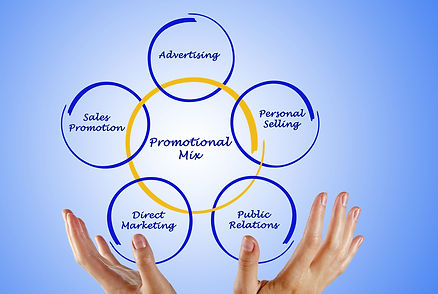 Elements of promotional mix fitting together shown as rings in two hands