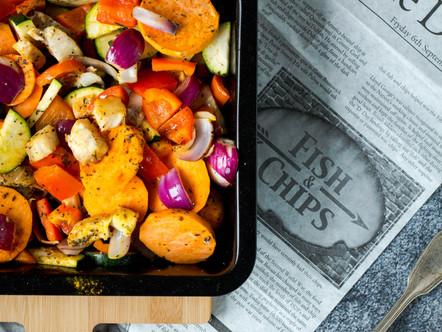 Groente,bataat en kabeljauw uit de oven