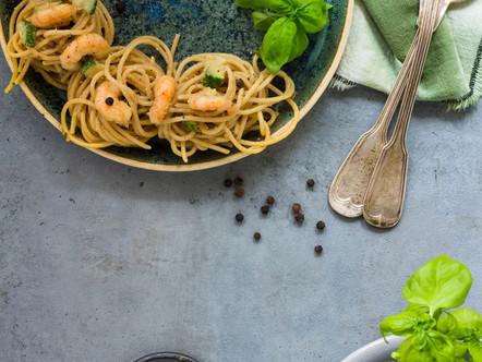 Gele Linzen Spaghetti met scampi