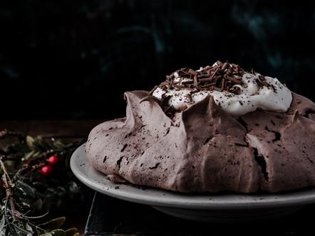 Chocolade pavlova met room