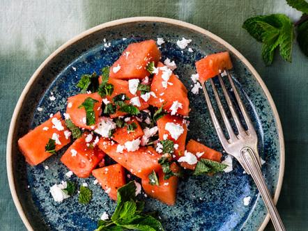 Watermeloen salade met feta en munt