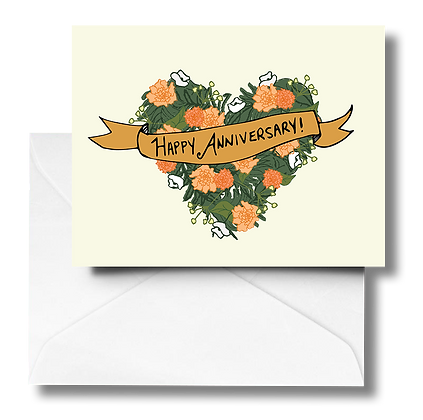 Anniversary Wreath Note Card (gold leaf banner)