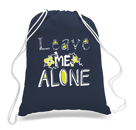 "Navy ""Leave Me Alone"" Drawstring Tote"