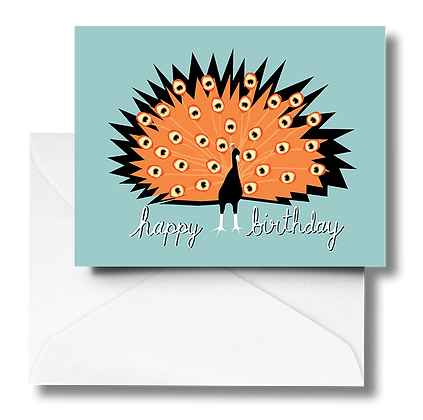 Peacock Birthday Note Card
