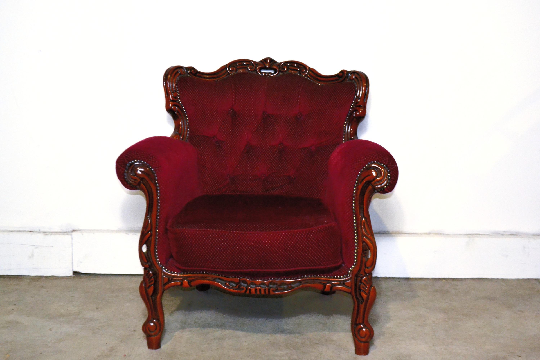 Vintage Claret Red Armchair