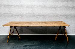 8ft Reclaimed Wood Trestle Table