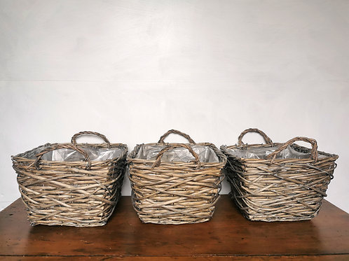 Rustic Square Woven Basket / Pantry Storage