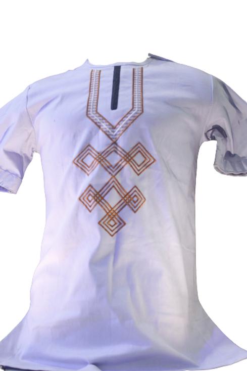Men African Short Sleeve Shirt  Style -Gray