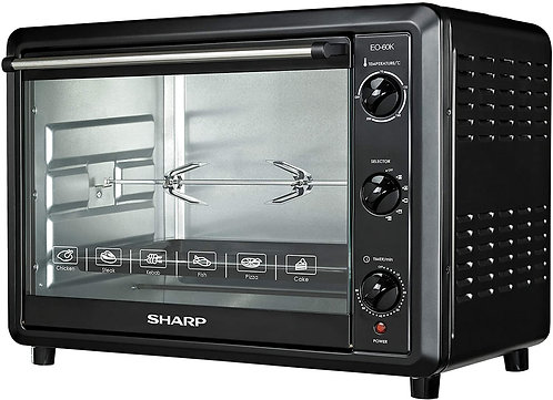 Sharp 60L 2000W Single Glass Electric Oven with Rotisserie & Convection, EO-60K-