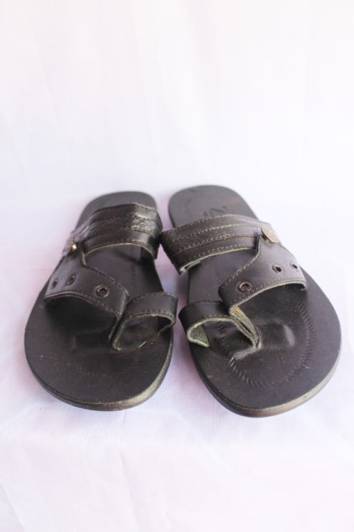 Black Leather Slippers Men