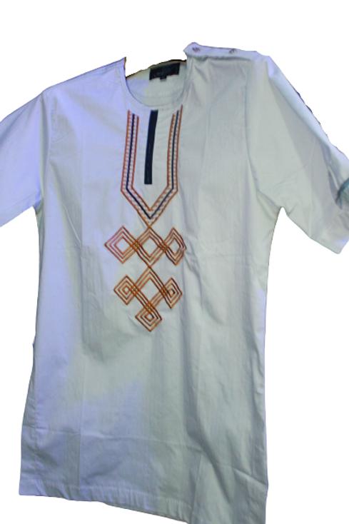 Gray African Short Sleeve Shirt