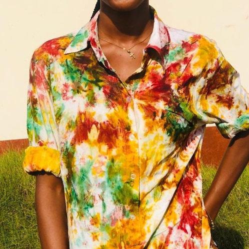Crumple long sleeve Tie-dye Girls Shirt