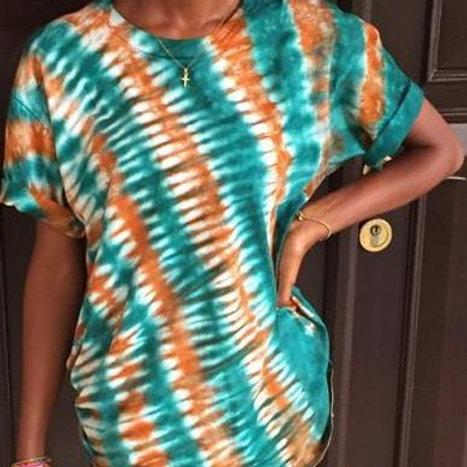 Vertical Pleat Folding on the Side Tie-dye Girls Shirt