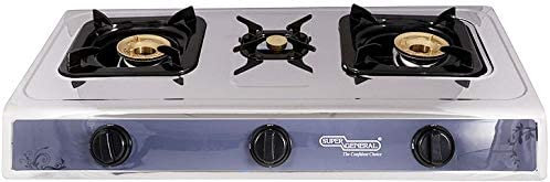 Super General Table Top Cooker With 3 Gas Burner, Silver Sgb 03 Ss