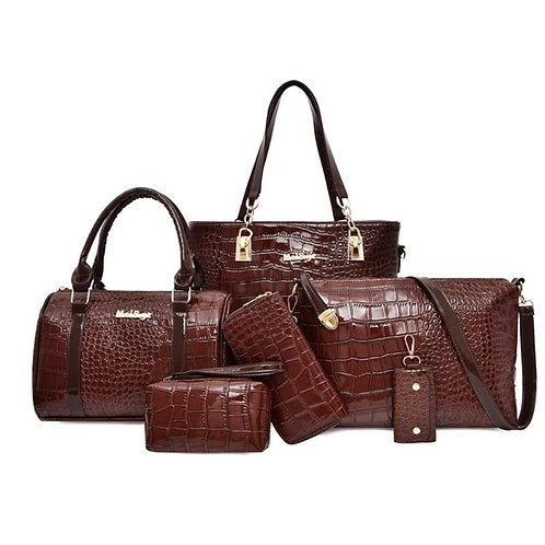 Alligator Pattern Shoulder Handbags 6pcs
