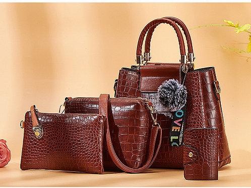Luxury Crocodile Female Handbags 4pcs