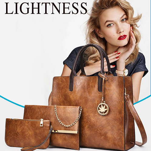 Vintage PU Leather Women 3pcs