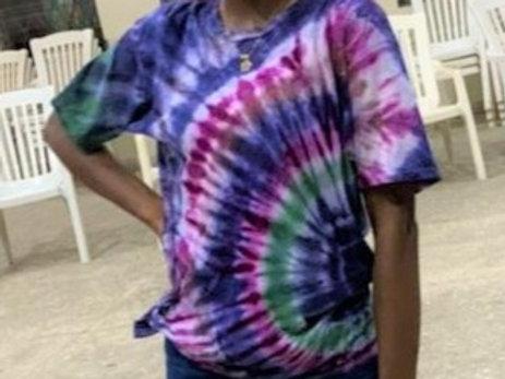 Repeating Peacock Tie-dye Girls Shirt