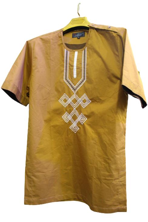 Brown African Short Sleeve Shirt