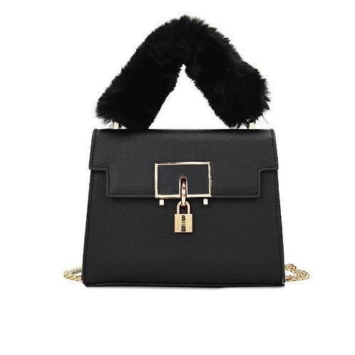 JASMIN NOIR PU Leather Women's Handbag Retro Lock Sling Bag Small Square Tote