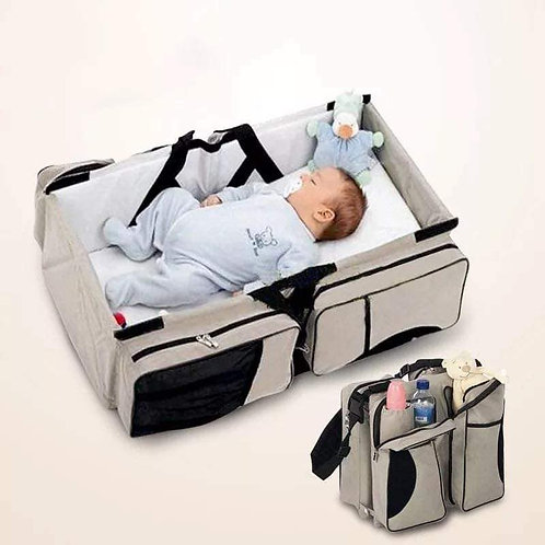 Multi-Purpose 3 in 1 Diaper Bag - Travel Bassinet - Change Station - (Cream) #1