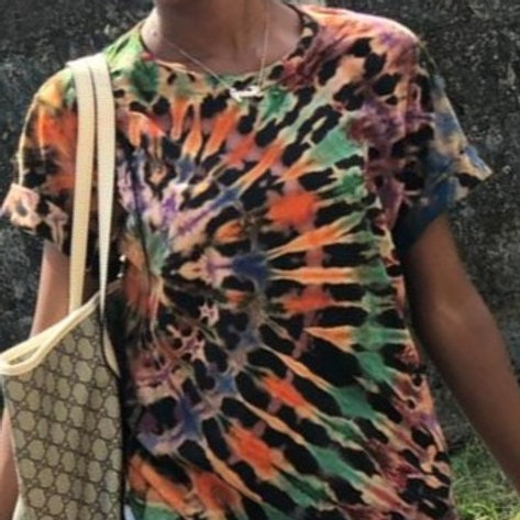 Rainbow Spiral on the side Tie-dye Girls Shirt