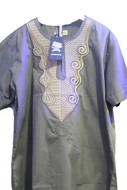 Gray Design African Short Sleeve Shirt