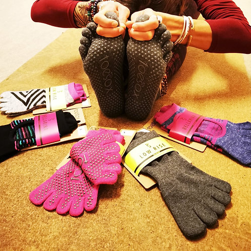 ToeSox® Organico - Meias 5 dedos Anti-Derrapantes