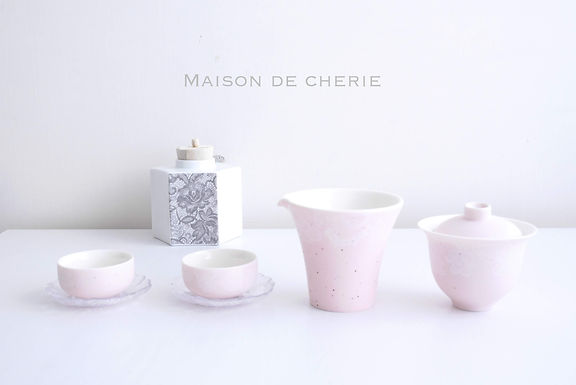 Mashmellow pink Chinese Tea cup set