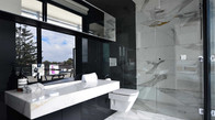 Glass Splashback Bathroom Black