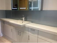 Glass Splashback Bathroom Grey