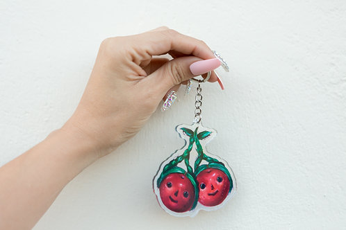 Maria Holographic Cherry Keychain