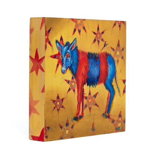 "'Fiesta Triste' - Original Acrylic Painting on Wood Panel 8""X8"""