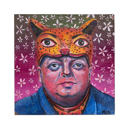 "'Masked Diego Rivera' ORIGINAL PAINTING 5""X5"""