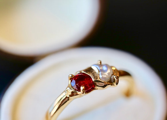 The Sun & The Moon ... Ring of Ruby & Pearl