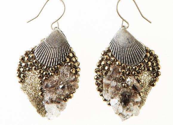 Steel gray shell feather earrings