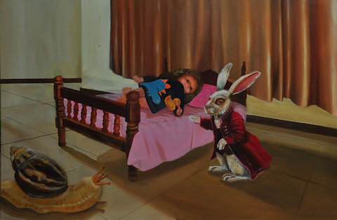 Dream in between and awake with hare