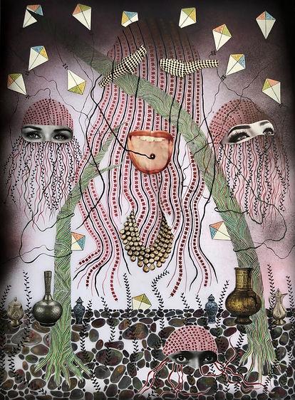TONGUE TIED 2019   Haya Zaidi Mix media on Mylar (Inks, acrylics, collage, glitter and spray paint)