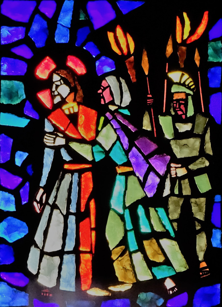 4_betrayal_by_Judas_stained_glass_art_po