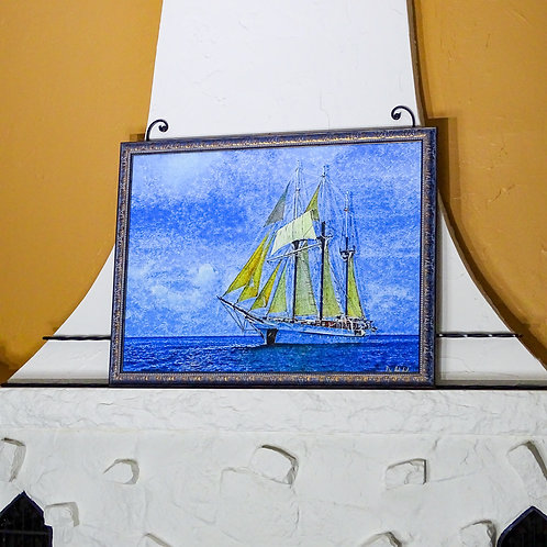 """""""Vela Sailing The Caribbean"""" Signed Framed Limited Edition Archival Print"""