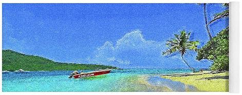 Tobago-Cays-Impressionism-Yoga-Mat-Islan