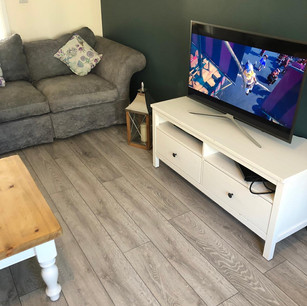 Finished Feature Wall and Laminate Flooring