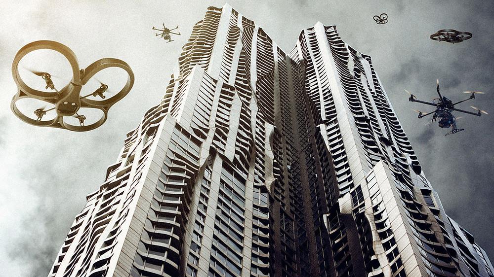 Ciudad futurista rodeada de drones