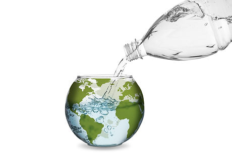 Water spilled from bottle made the wave in globe bowl.jpg Environmental protection concept, global w